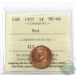 1-cent 1937 ICCS Certified MS-66 Red. A full red coin with great eye appeal!