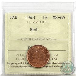 1-cent 1943 ICCS Certified MS-65 Red