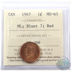 1-cent 1947 ML Blunt 7 ICCS Certified MS-65 Red. Nice deep orange lustre!