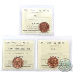 1-cent 1947, 1949 A of Denticle & 1950 ICCS Certified MS-65 Red. 3pcs. All coins are full red.
