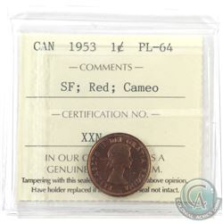 1-cent 1953 SF ICCS Certified PL-64 Red; Cameo! Nice deep original cherry red!