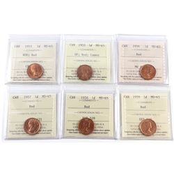 1-cent 1953 NSF, 1955 SF, 1956, 1957, 1958 & 1959 ICCS Certified MS-65 Red. 6pcs
