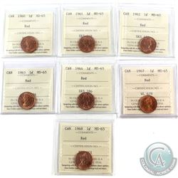1-cent 1960, 1961, 1962, 1963, 1964, 1967 & 1968 ICCS Certified MS-65 Red. 7pcs