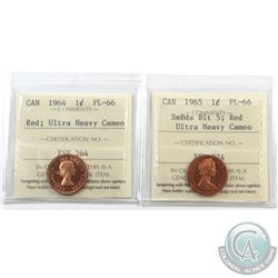 1-cent 1964 & 1965 SB Blt5 ICCS Certified PL-66 Ultra Heavy Cameo; Red. 2pcs