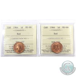 1-cent 1964 & 1966 ICCS Certified MS-66 Red. 2pcs