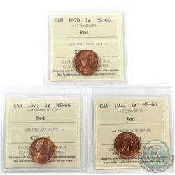 1-cent 1970, 1971 & 1972 ICCS Certified MS-66 Red. 3pcs