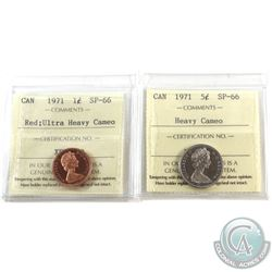 1-cent 1971 ICCS Certified SP-66 Red Ultra Heavy Cameo & 1971 5-cent ICCS SP-66 Heavy Cameo. 2pcs