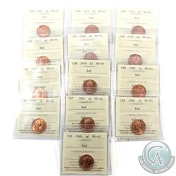 1-cent 1971, 1972, 1973, 1975, 1976, 1977, 1978, 1979, 1980, 1981, 1984, 1986 & 1989 ICCS Certified