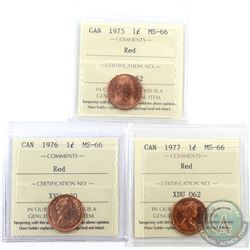 1-cent 1975, 1976 & 1977 ICCS Certified MS-66 Red. 3pcs