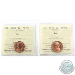 1-cent 1978 & 1979 ICCS Certified MS-66 Red. 2pcs
