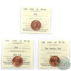 1-cent 1981, 1982 & 1983 Far Beads ICCS Certified MS-66 Red. 3pcs