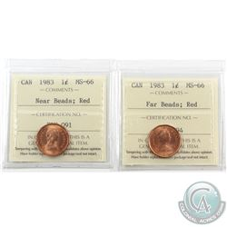 1-cent 1983 Far Beads & Near Beads ICCS Certified MS-66; Red. 2pcs