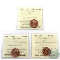 1-cent 1989, 1990 & 1991 ICCS Certified MS-66 Red. 3pcs