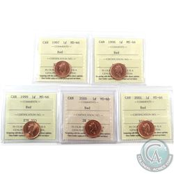 1-cent 1997, 1998, 1999, 2000 & 2001 ICCS Certified MS-66 Red. 5pcs