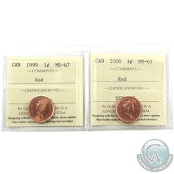 1-cent 1999 & 2000 ICCS Certified MS-67 Red. 2pcs