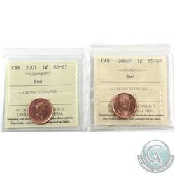 1-cent 2001 & 2002P ICCS Certified MS-67 Red. 2pcs