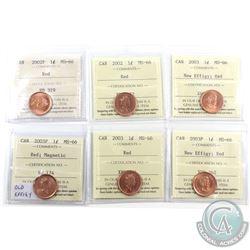 1-cent 2002, 2002P, 2003 Old Effigy, 2003P Old Effigy, 2003 New Effigy & 2003P New Effigy ICCS Certi