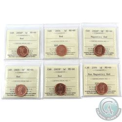 1-cent 2004, 2004P, 2005, 2005P, 2006 Non Magnetic & 2006P Magnetic ICCS Certified MS-66 Red. 6pcs