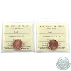 1-cent 2005 & 2005P ICCS Certified MS-67 Red. 2pcs