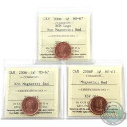 1-cent 2006P Magnetic, 2006 Non-Magnetic & 2006 Logo Non-Magnetic ICCS Certified MS-67 Red. 3pcs