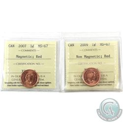 1-cent 2007 Magnetic & 2009 Non Magnetic ICCS Certified MS-67 Red. 2pcs