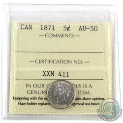5-cent 1871 ICCS Certified AU-50. Original lustre, shows better than grade!
