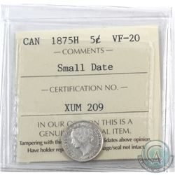 5-cent 1875H Small Date ICCS Certified VF-20 *KEY DATE*