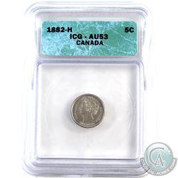 5-cent 1882H C/C & V/V Variety ICG Certified AU-53