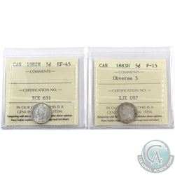 5-cent 1882H ICCS Certified EF-45 & 1883H Obverse 5 ICCS F-15. 2pcs