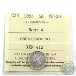 5-cent 1884 Near 4 ICCS Certified VF-20