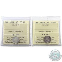 5-cent 1889 & 1890H ICCS Certified VF-30. 2pcs