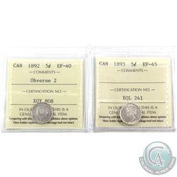 5-cent 1892 Obverse 2 ICCS EF-40 & 1893 ICCS EF-45. 2pcs