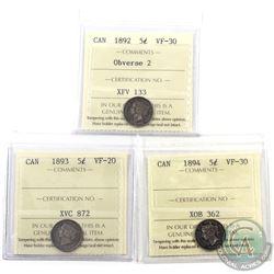 5-cent 1892 Obverse 2 ICCS VF-30, 1893 ICCS VF-20 & 1894 ICCS VF-30. 3pcs