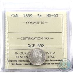 5-cent 1899 ICCS Certified MS-63. Coin has light rose toning.