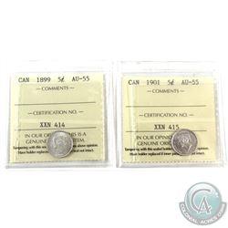 5-cent 1899 & 1901 ICCS Certified AU-55. 2pcs. Original lustre, bright vibrant coins.