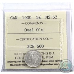 5-cent 1900 Oval 0's ICCS Certified MS-62