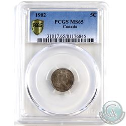 5-cent 1902 PCGS Certified MS-65. A lightly toned coin with full underlying luster.