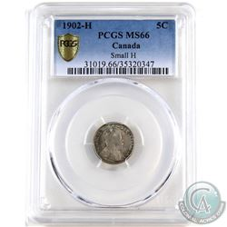 5-cent 1902H Small H PCGS Certified MS-66. A beautifully toned example with olive greens and indigo