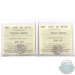 5-cent 1909 Pointed Leaves ICCS Certified EF-45 & 1910 Round Leaves ICCS EF-40. 2pcs