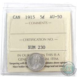 5-cent 1915 ICCS Certified AU-50.
