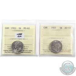 5-cent 1922 Near Rim ICCS Certified MS-62 & 1923 ICCS AU-55. 2pcs