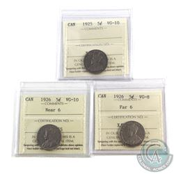 5-cent 1922-1966 Estate Lot Collection Including 1925 ICCS Certified VG-10, 1926 Far 6 ICCS VG-8 & 1
