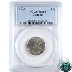 5-cent 1924 PCGS Certified MS-63.