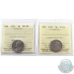 5-cent 1924 ICCS Certified MS-60 & 1925 ICCS F-12. 2pcs