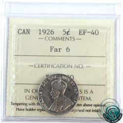 5-cent 1926 Far 6 ICCS Certified EF-40. Mid-grade example of a scarce variety.