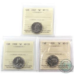 5-cent 1927, 1928 & 1929 ICCS Certified AU-55. 3pcs