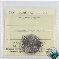 5-cent 1928 ICCS Certified MS-65! Tied for highest grade by ICCS.