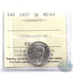 5-cent 1937 ICCS Certified MS-65. Pristine coin with near flawless fields.