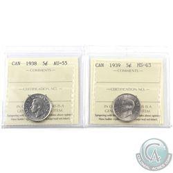 5-cent 1938 ICCS AU-55 & 1939 ICCS MS-63. 2pcs