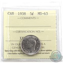 5-cent 1938 ICCS Certified MS-63